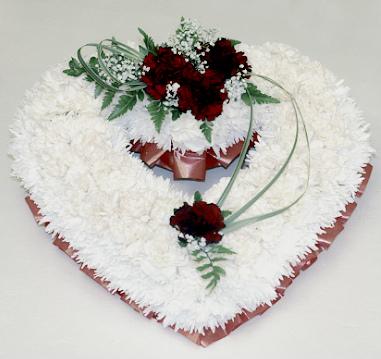 wreath heart funeral loughborough white